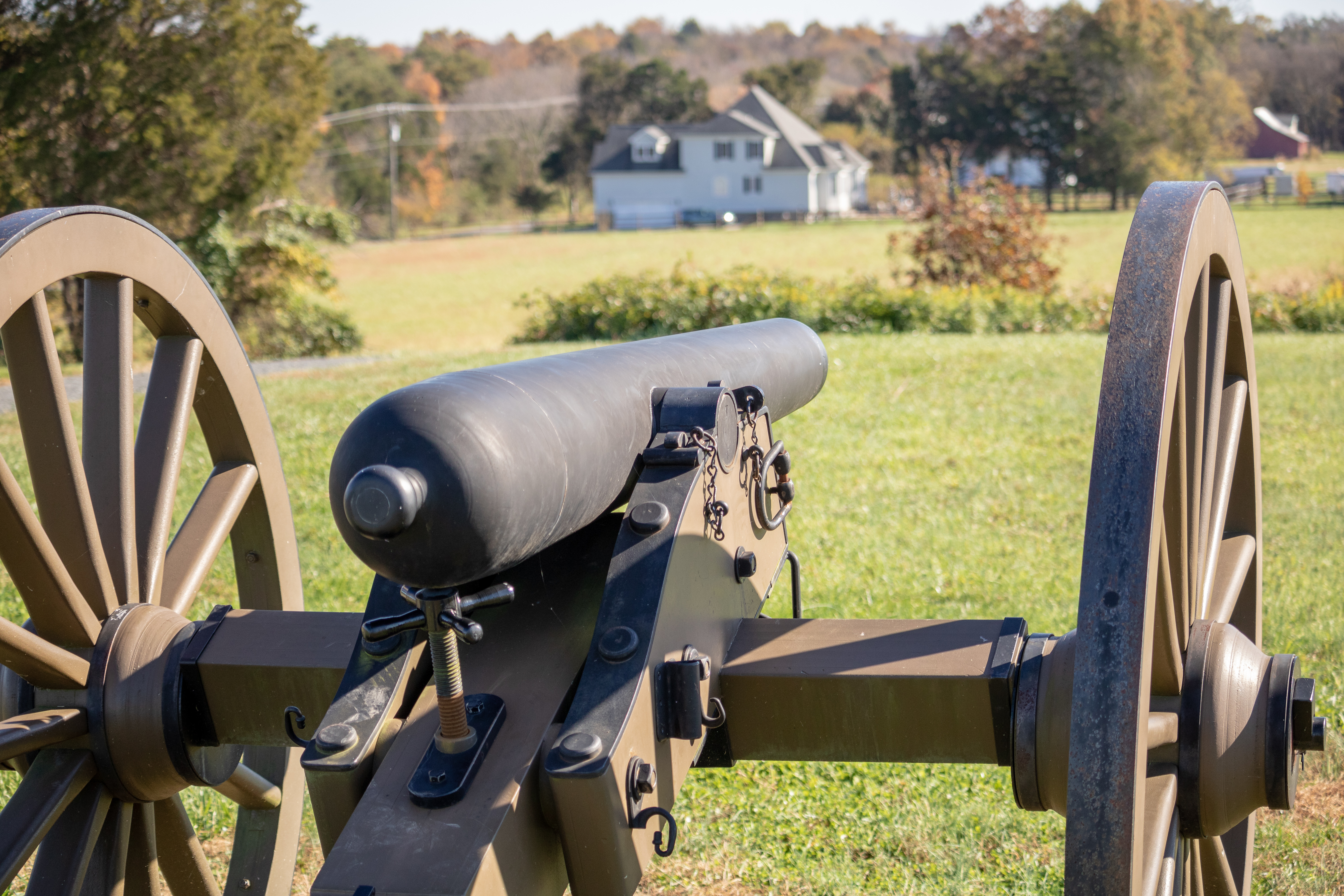 Picture of a civil war cannon taking aim in a field.